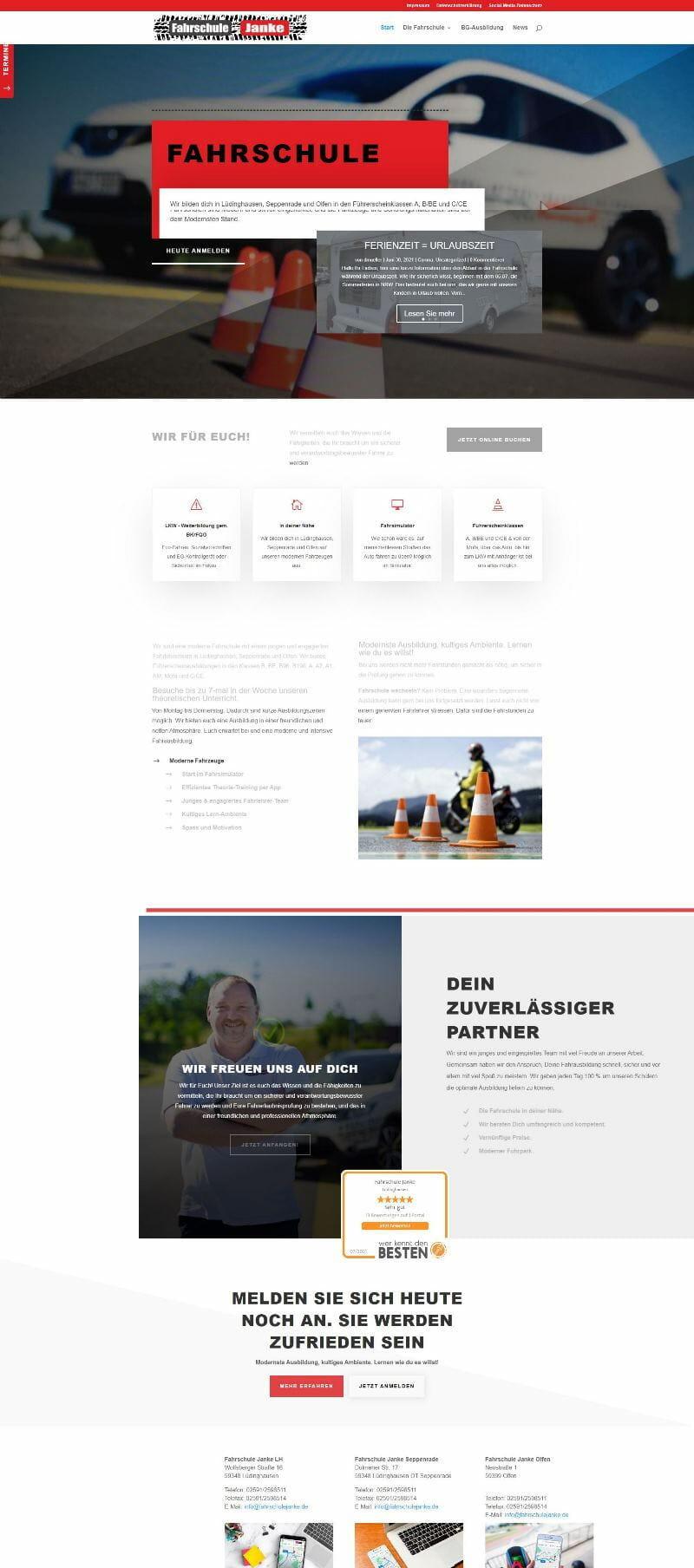 Homepage Website- Unterschied Fahrschule Janke